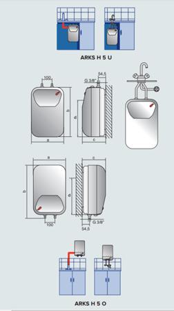 ARKS H 5O EU Elektryczny pojemnościowy bezciśnieniowy podgrzewacz wody